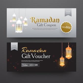 Ramadan-waardebon of voucher-indeling met verschillende kortingen van