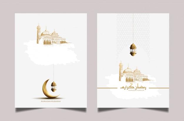 Ramadan wenskaart met gouden maansikkel en lantaarn