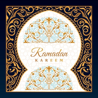 Ramadan wenskaart oosterse design moskee met arabisch patroon