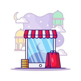 Ramadan winkelen op mobiele smartphone cartoon afbeelding