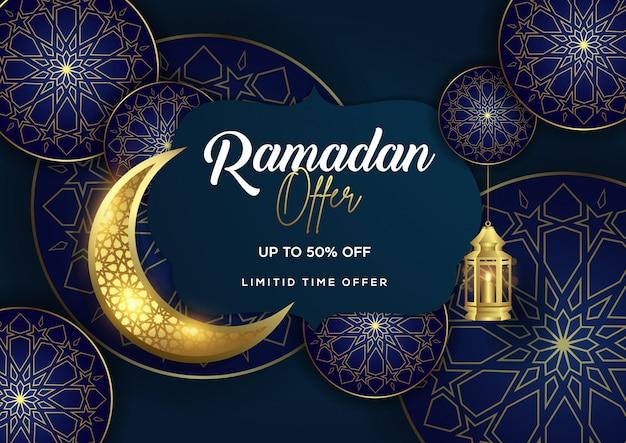 Ramadanaanbieding met lantaarn en halve maanachtergrond