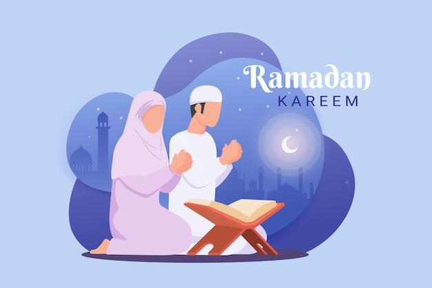 Ramadanachtergrond met een moslimman die de koran met moskeeillustratie leest