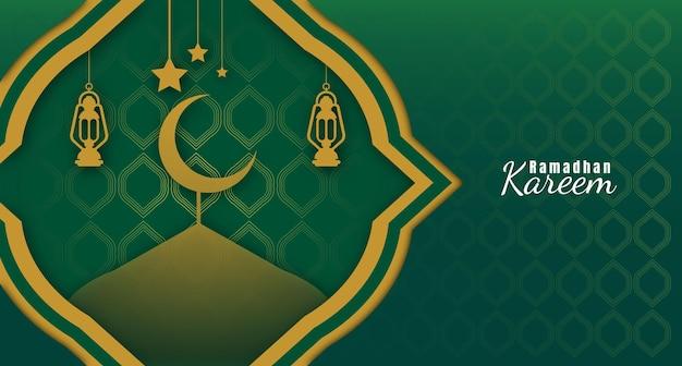 Ramadhan kareem achtergrond met lantaarns en de moskee