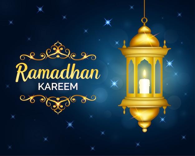 Ramadhan kareem-ontwerp versierd met gouden lantaarn en gloeiende sterren
