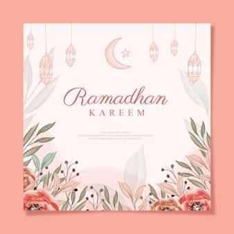 Ramadhan kareem vierkant met bloemenwetercolor