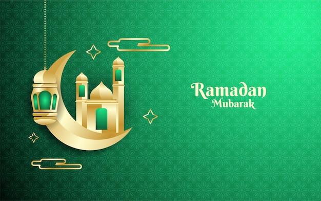 Ramadhan mubarak-achtergrond met maan en 3d moskee samen met islamitisch textuurornament