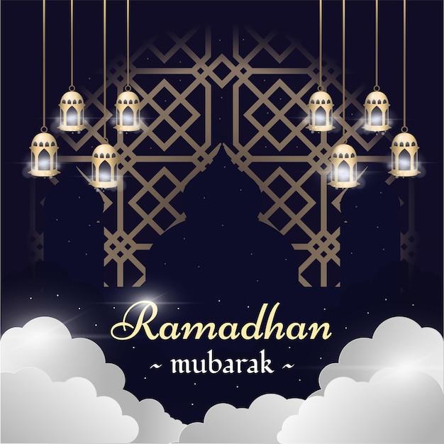 Ramadhan mubarak met wolken