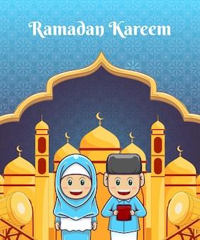 Ramdan kareem-ontwerp met kinderillustratie