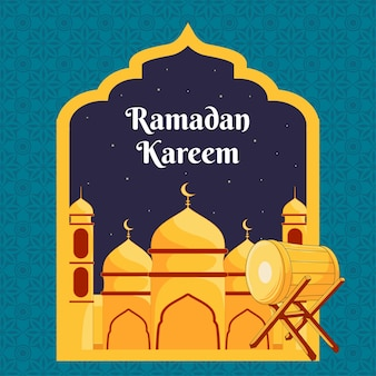 Ramdan kareem-ontwerp met moskeeillustratie
