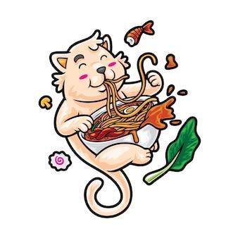 Ramen cat illustratie