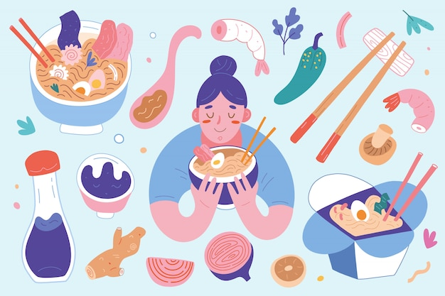 Ramen-collectie, vrouw die japanse knobbelsoep eet