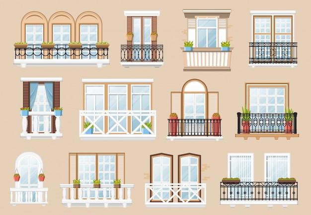 Ramen en balkons gevel exterieur.