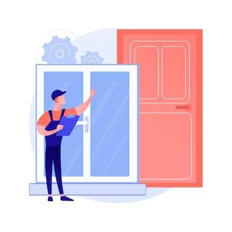 Ramen en deuren diensten abstract concept