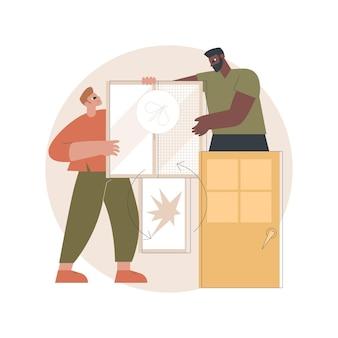 Ramen en deuren diensten illustratie