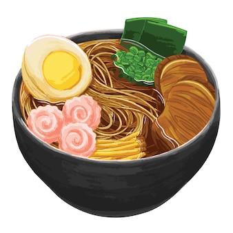 Ramen japans eten in platte ontwerpstijl