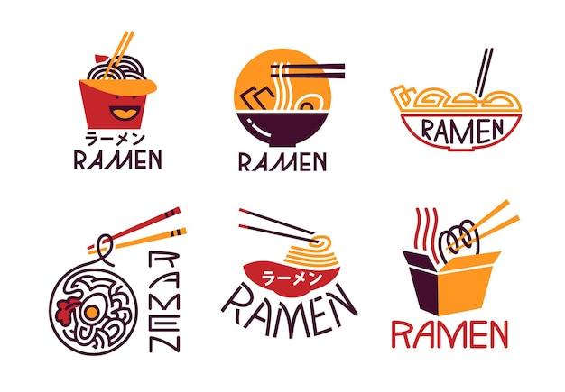 Ramen maaltijd koken logo set