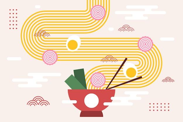 Ramen met noedels en ei op kom japanse achtergrond