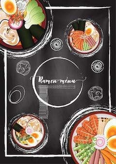 Ramen noodle menu met schoolbord achtergrond