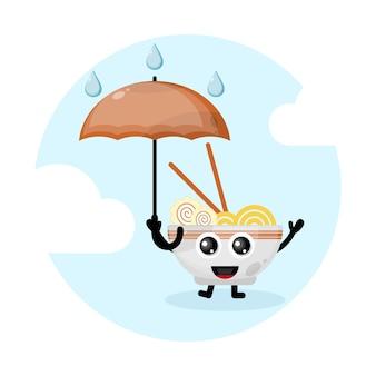 Ramen noodle paraplu mascotte karakter logo Premium Vector