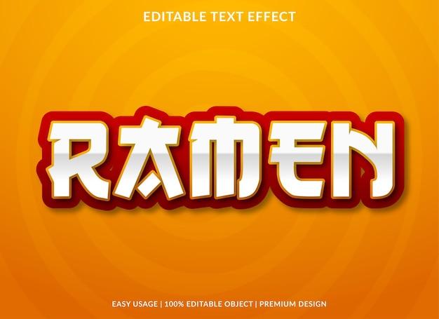 Ramen-teksteffect met gewaagd stijlgebruik voor voedselmerk