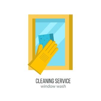 Ramen wassen. een hand in een rubberen handschoen wast het raam.