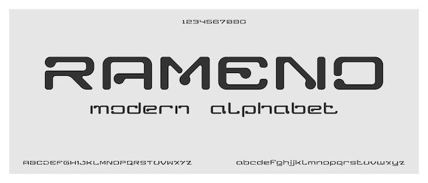 Rameno, modern creatief alfabet met stedelijke stijlsjabloon