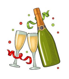 Rammelend glas, champagnefles, kronkelige linten. vintage gravure