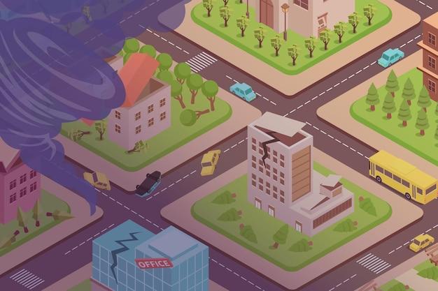 Ramp tornado isometrische samenstelling met vogelperspectief van straten, kapotte auto's, beschadigde gebouwen en trechter