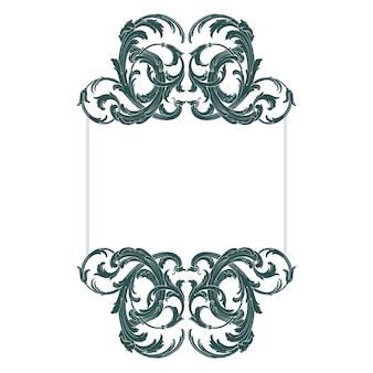 Rand en frame met barokke stijl. ornament-elementen voor uw ontwerp. zwart-witte kleur. floral gravure decoratie