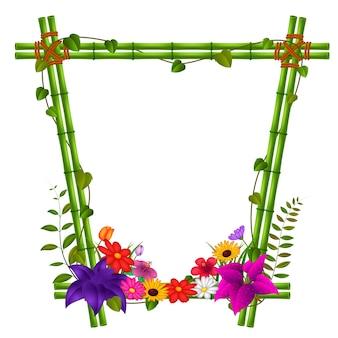 Rand sjablonen met bamboe en bloemen