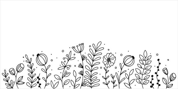 Rand van eenvoudige lijn getrokken wilde bloemen grafisch zwart-wit