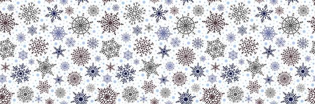 Rand van sneeuwvlokken, banner, winter vector achtergrond, kerstthema