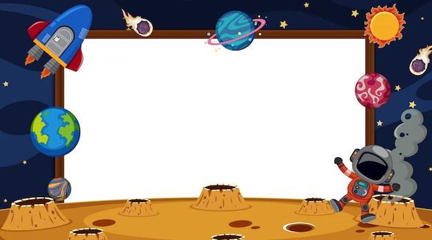 Randsjabloon met binnen astronaut en planeten