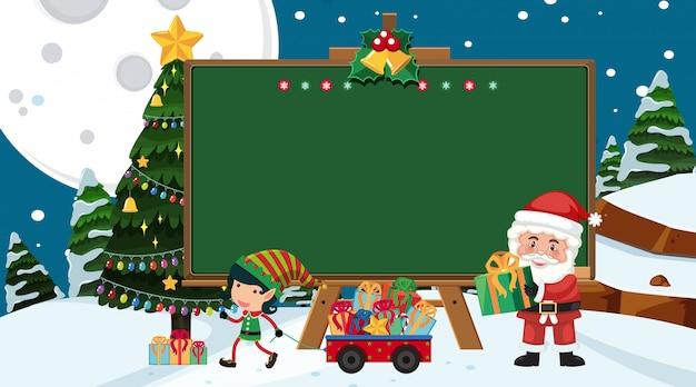 Randsjabloon met kerstthema op achtergrond
