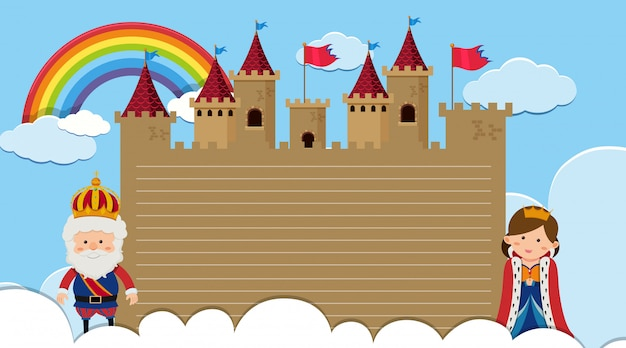 Randsjabloon met koning en koningin in het kasteel