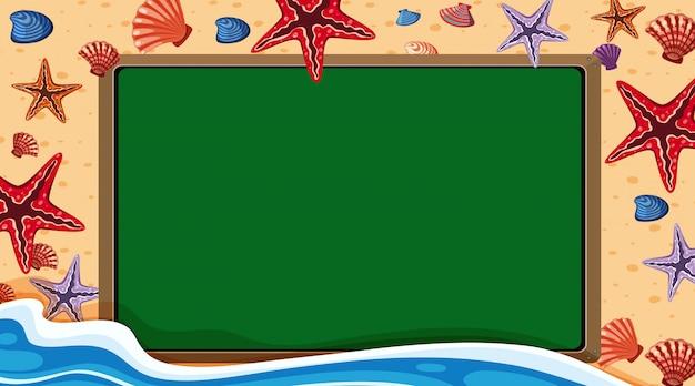 Randsjabloon met oceaanthema op achtergrond