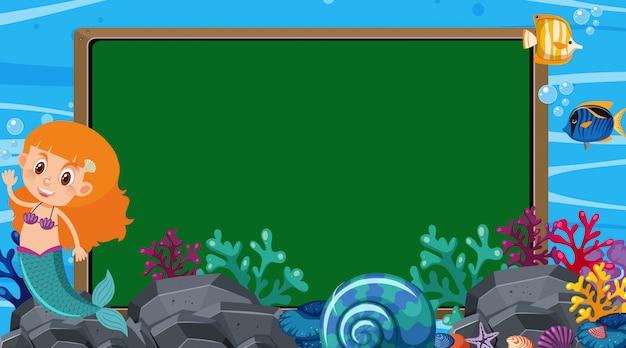 Randsjabloon met onderwaterscène op achtergrond