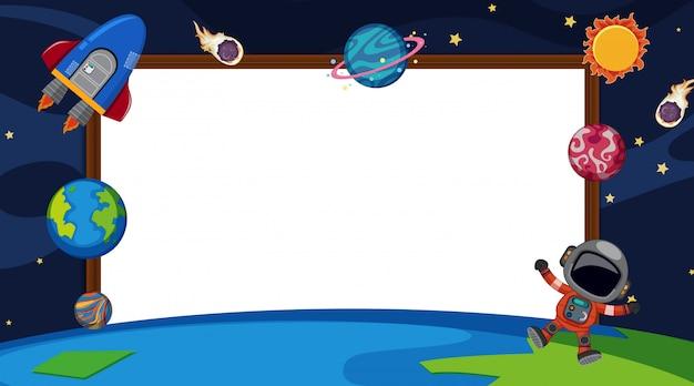 Randsjabloon met planeten op ruimteachtergrond