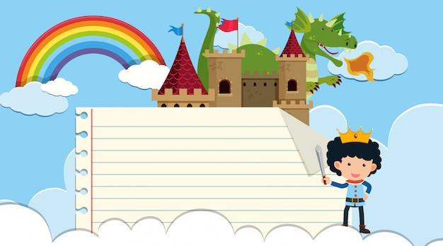 Randsjabloon met prins en draak in het kasteel
