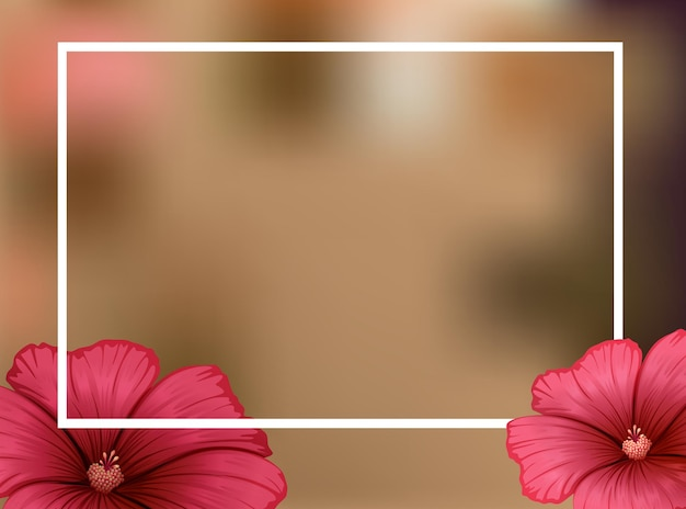 Randsjabloon met rode bloemen