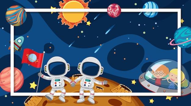 Randsjabloon met ruimtethema op achtergrond