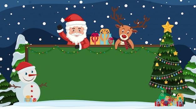 Randsjabloon met santa en sneeuwpop