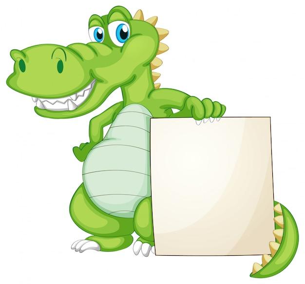 Randsjabloon met schattige krokodil