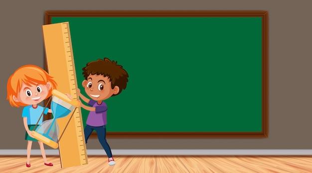Randsjabloon met twee kinderen in de klas