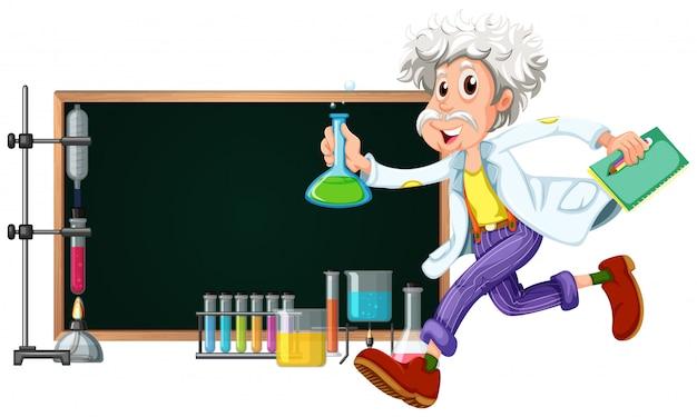 Randsjabloon met wetenschapper die met hulpmiddelen werkt