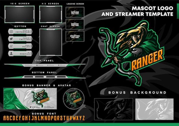 Ranger-mascotte-logo en twitch-overlay-sjabloon
