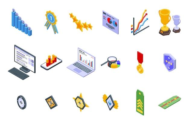 Rangschikking pictogrammen instellen. isometrische set ranking vector iconen voor webdesign geïsoleerd op een witte achtergrond