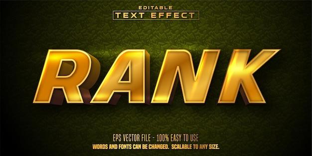 Rangtekst, bewerkbaar teksteffect in gouden stijl