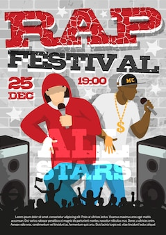 Rap music festival aankondiging poster