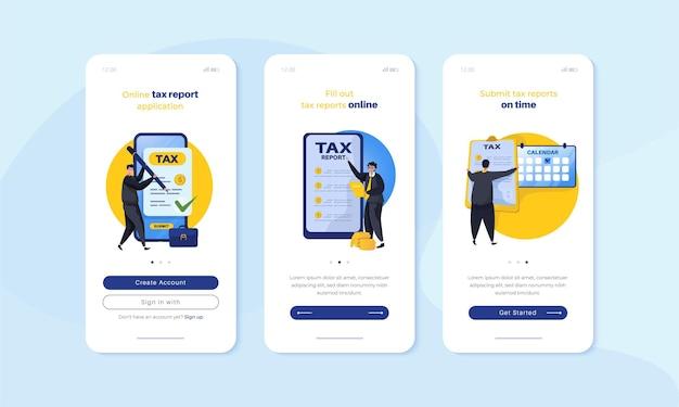 Rapportage jaarlijkse belasting online illustratie op mobiel schermconcept aan boord